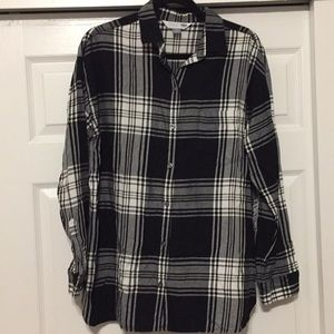 Large Gray, White and Black Plaid Tunic Length